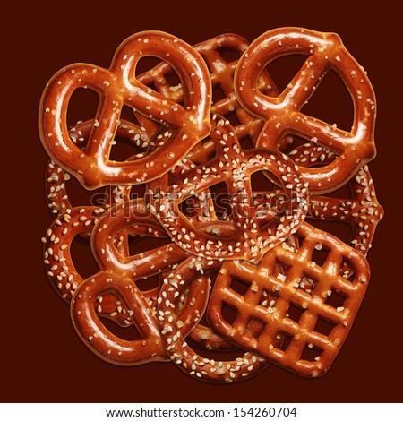 Group of crispy pretzels on brown background - stock photo