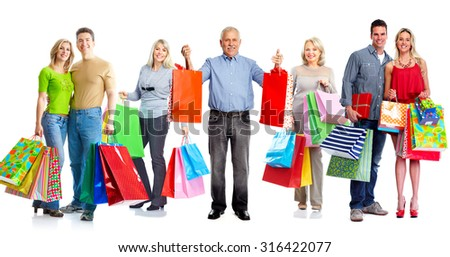 Group of customers with shopping bags isolated white background.
