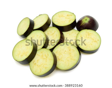 Group of cut eggplants over white background