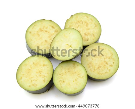 Group of cut eggplants over white background, with clipping path