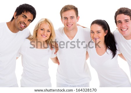 group of cute friends hugging over white background