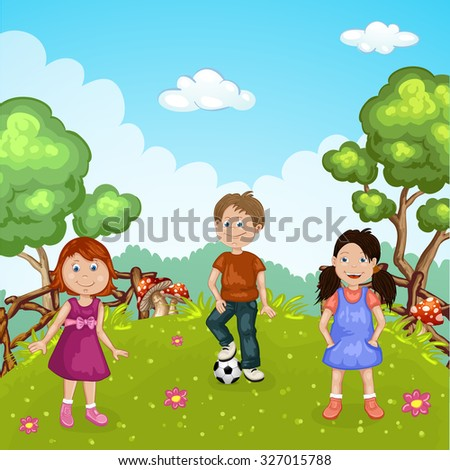 Group of cute happy cartoon kids playing in green park  - stock photo
