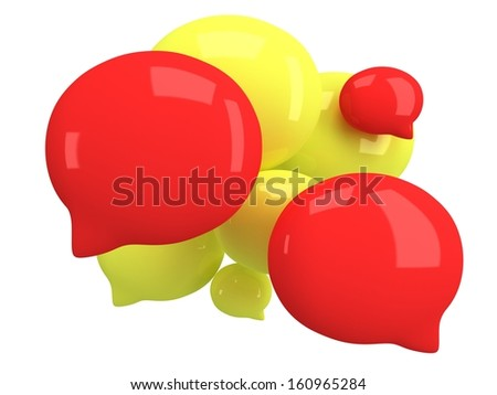 Group of 3d blank speech bubbles isolated on white. Chat symbols, conference concept. Render - stock photo
