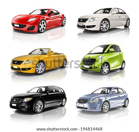 Group of 3D Cars - stock photo