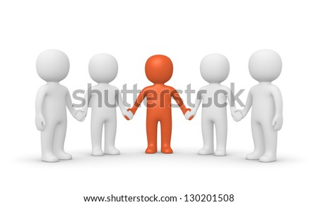 Group of 3d people with leader. Computer generated image. - stock photo