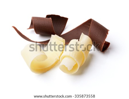 group of dark and white chocolate curls isolated on white - stock photo