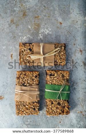 Group of delicious granola bars - stock photo