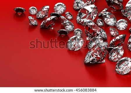 Group of diamonds placed on red background with copy space, 3D