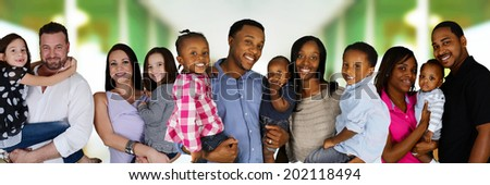 Group of different families together of all races - stock photo