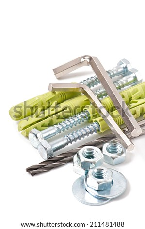 group of different type of bolts, nuts and rivets isolated on white - stock photo