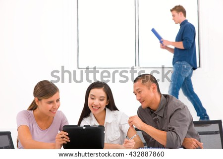 Group of diverse business people in office - stock photo