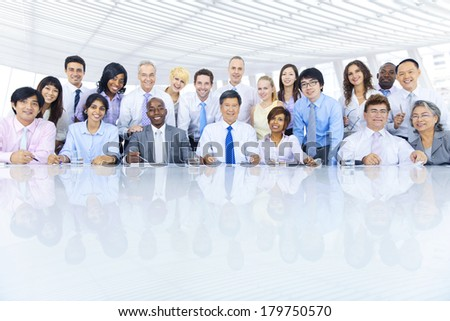 Group of Diverse Business People Meeting at Table - stock photo