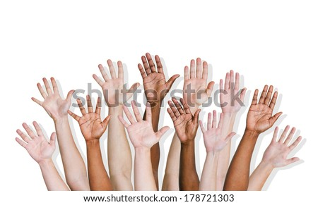 Group of Diverse Hands Raised