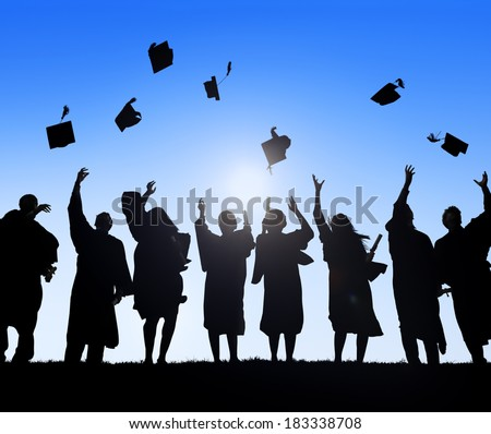 Group Of Diverse International Students Celebrating Graduation And Throwing Caps - stock photo