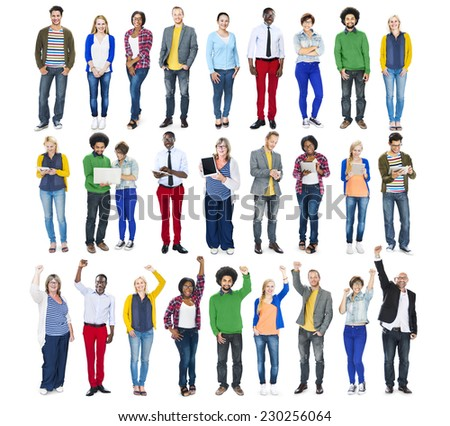 Group of Diverse Multiethnic Cheerful People - stock photo