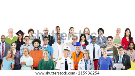 Group of Diverse Multiethnic People with Different Jobs - stock photo