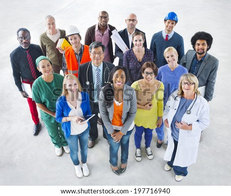Group of Diverse Multiethnic People with Various Jobs - stock photo