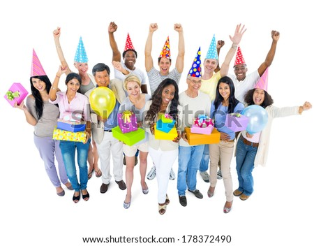 Group of Diverse People Celebrating - stock photo