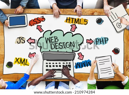 Group of Diverse People Discussing About Web Design - stock photo