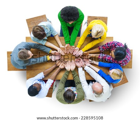 Group of Diverse People Hand Cupped - stock photo