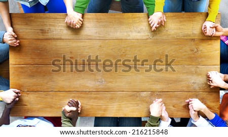 Group of Diverse People Holding Hands - stock photo
