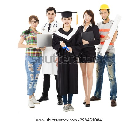 Group of diverse people in different occupations standing with graduation - stock photo