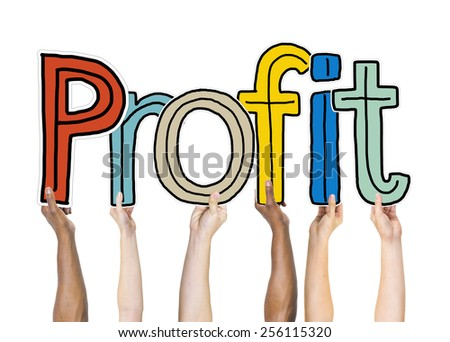 Group of Diverse People's Hands Holding Profit - stock photo