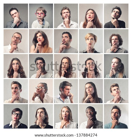 group of diverse people who think to find a solution - stock photo