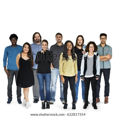Group of Diversity Black Hair Adult People Together Set Studio Isolated