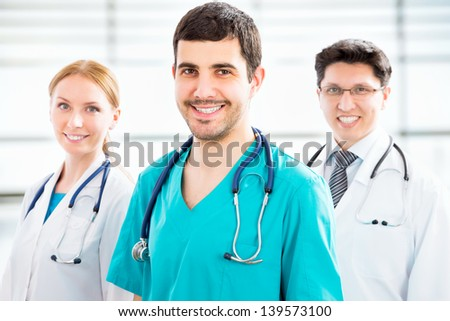 Group of doctors in the hospital - stock photo