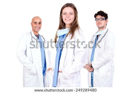 Group of doctors isolated in white - stock photo