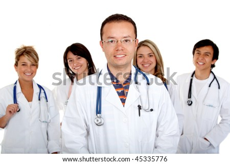 Group of doctors isolated over a white background