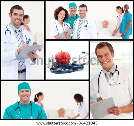 Group of doctors looking at camera and working in hospita - stock photo