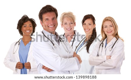 group of doctors on white isolated background - stock photo