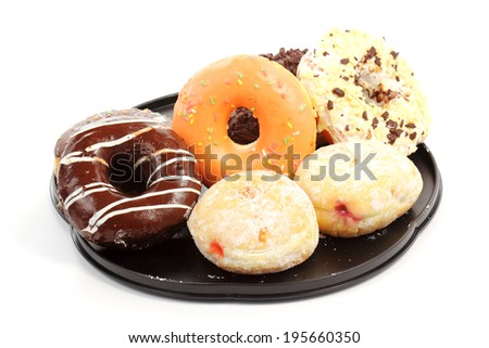 Group of doughnut on the tray - stock photo