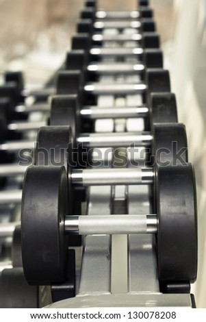 Group of Dumbbells - stock photo