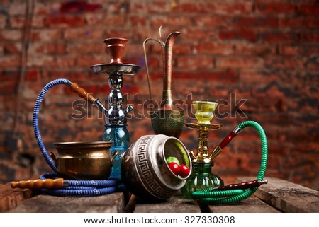 group of eastern hookahs - stock photo