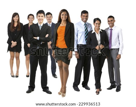 Group of eight Asian business people. Business team Isolated on white background.