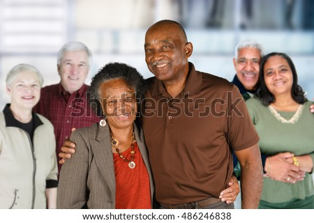 Group of elderly couples of all races