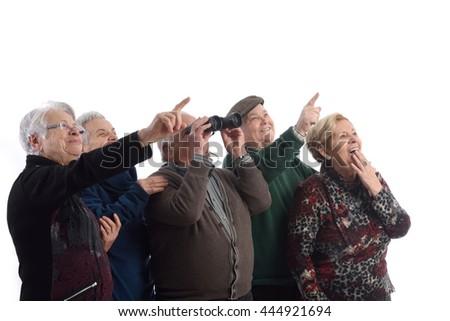 group of elders and looking surprised - stock photo