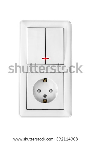 Group of electric socket and switch isolated over white