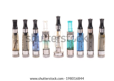Group of electronic cigarette nicotine inhalator. isolated on white background