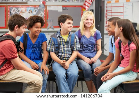 Group of Elementary Pupils In Classroom - stock photo