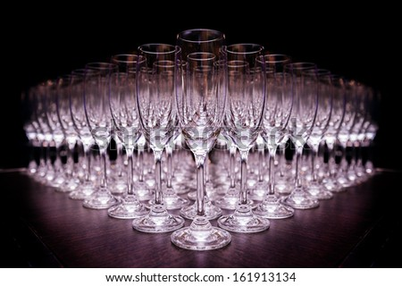 Group of empty champagne glasses - stock photo