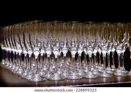 Group of empty champagne glasses in party