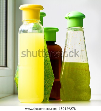 Group of empty cosmetic bottles - stock photo