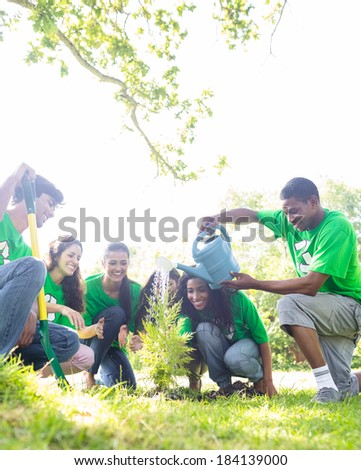 Group of environmentalists watering plant in park - stock photo