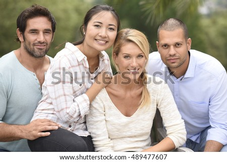 Group of ethnic people having fun together