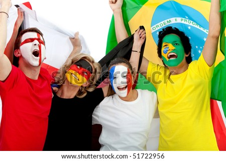 Group of excited football fans with their faces painted - Isolated over white - stock photo