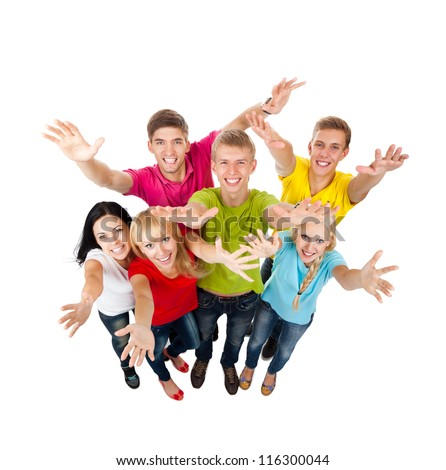 Group of excited people happy teenagers. Smiling and looking at camera. Hands arms up. Top angle view full length portrait isolated white background, happy young students celebrating success